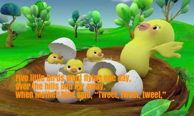 Five Little Birds Nursery Rhyme Lyrics