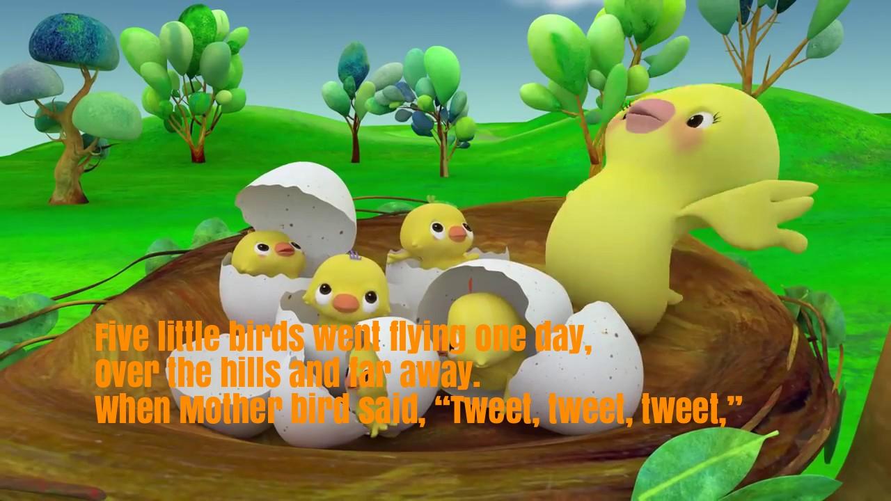 Five Little Birds Nursery Rhyme Lyrics