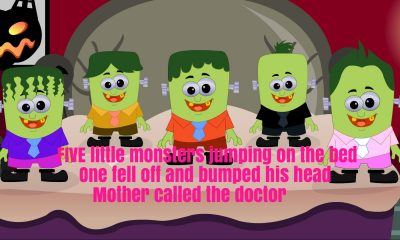 Five Little Monsters Jumping On The Bed Nursery Rhyme Lyrics