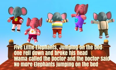 Five Little Elephants Jumping On The Bed Nursery Rhyme Lyrics