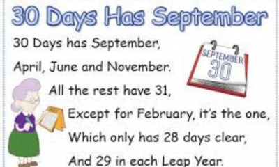 Thirty Days Hath September Rhyme Lyrics And Video